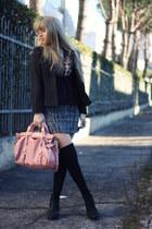 black Forever21 skirt - black Topshop boots - black H&M jacket