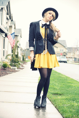 yellow necessary clothing dress - black Topshop boots - black H&M hat