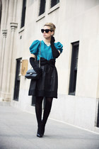black Chanel bag - turquoise blue OASAP shirt - black Celine sunglasses