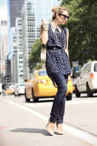 navy Big Star USA jeans - navy jovonna london shirt - peach Bufalo heels