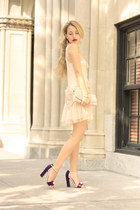 beige Chicwish dress - deep purple Giordano Torresi heels