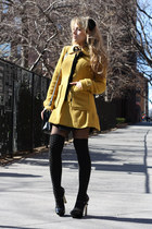 mustard luluscom coat - black Bijou Fashion Jewelry bag - black Forever21 socks