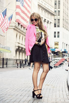 hot pink H&M blazer - white shirt - black H&M skirt - black sarenza heels