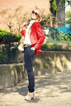 navy Big Star Jeans jeans - red vintage blazer - eggshell Steve Madden heels