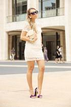 beige OASAP dress - neutral vintage bag - deep purple Giordano Torresi heels
