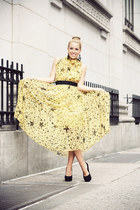 yellow Sheinside dress - black Zara bag - black vintage accessories