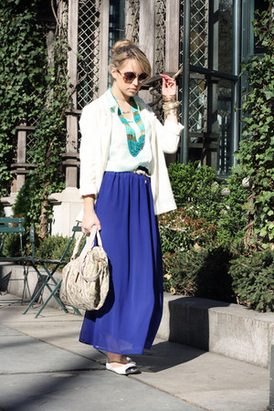 blue romwe skirt - white H&M blazer - aquamarine H&M shirt - nude Remy&Emmy bag