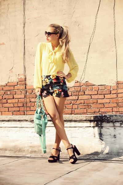 yellow necessary clothing shirt - black Lulus shorts - black manas heels