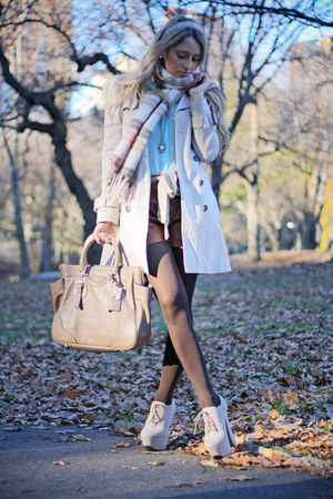 off white necessary clothing heels - beige Zara coat - sky blue Forever 21 scarf