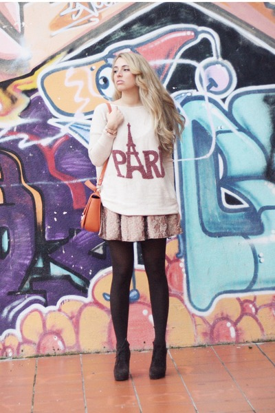 dark brown Georgia Rose boots - ivory OASAP sweater - carrot orange Miu Miu bag