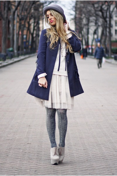 navy H&amp;M coat - heather gray H&amp;M hat - beige H&amp;M skirt