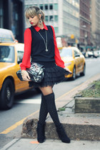 black Prima Donna boots - red Forever 21 shirt - black Forever21 tights