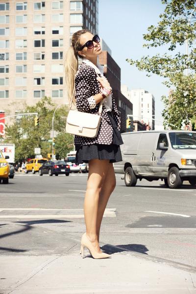 black Zara blazer - beige vintage bag - beige Bufalo heels - black Zara skirt