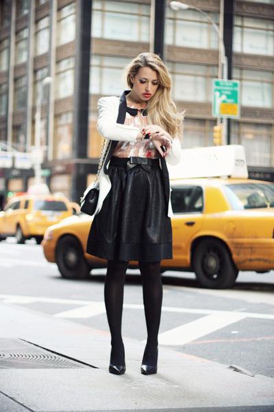black Chanel bag - neutral Sheinside dress - white SuperTrash blazer