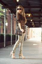 beige Steve Madden heels - tan David Kahn jeans - brown Line sweater
