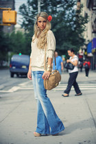 navy Forever21 shirt - nude pull&bear jeans - camel H&M bag
