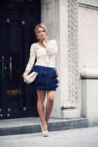 navy Miintocom skirt - ivory Miintocom shirt - beige Steve Madden heels