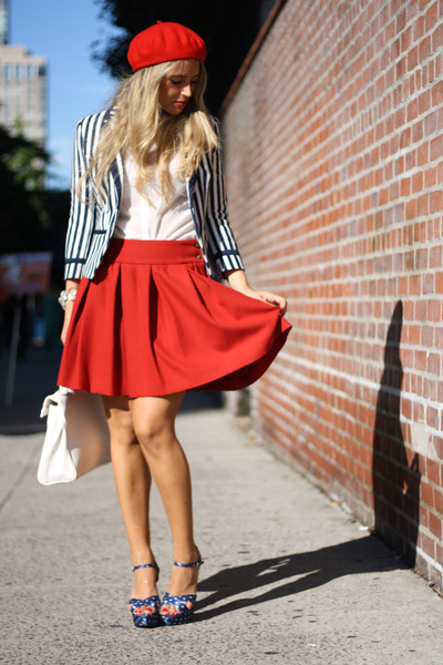 blue Bakers shoes - red H&amp;M hat - navy H&amp;M blazer - red Zara skirt