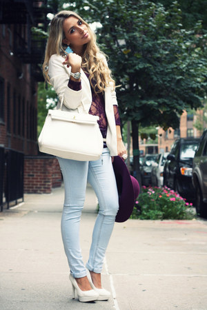 white Aldo bag - sky blue Zara jeans - magenta H&amp;M hat