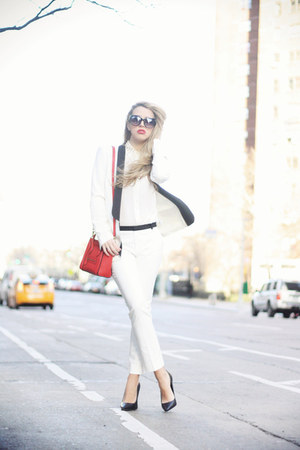 white SuperTrash blazer - red Celine bag - white Zara pants - black Bufalo heels
