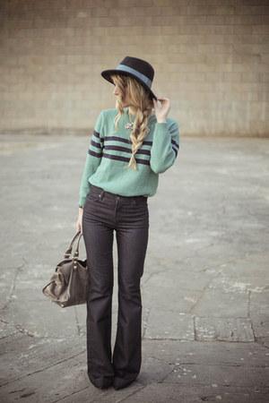 navy David Kahn jeans - navy Zara hat - turquoise blue nowIStyle sweater
