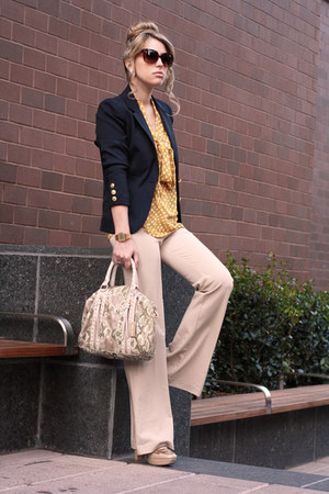 navy H&amp;M blazer - nude Remi&amp;Emmy bag - mustard necessary clothing blouse