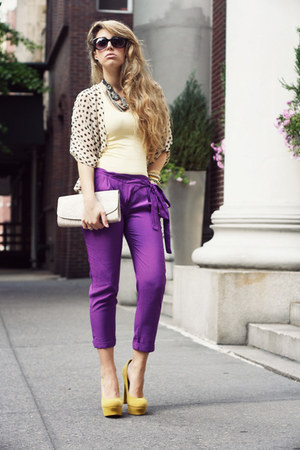 purple pavonine pants - eggshell H&M bag - mustard Kelsi Dagger heels