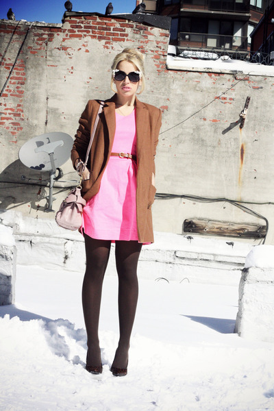 brown nowIStyle coat - hot pink Line & Dot dress - light pink Miu Miu bag