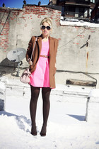 brown nowIStyle coat - hot pink Line & Dot dress - light pink Miu Miu bag