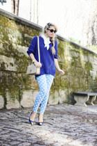 navy nowIStyle sweater - white Zara shirt - tan YSL bag