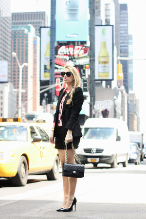 black Zara blazer - bubble gum romwe shirt - black Chanel bag