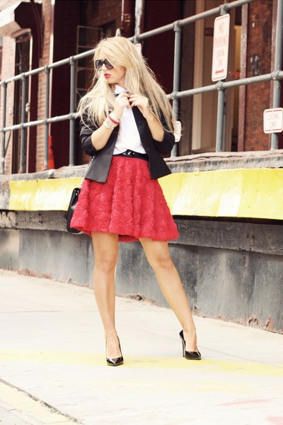 black H&M blazer - black Bufalo heels - ruby red Chicwish skirt