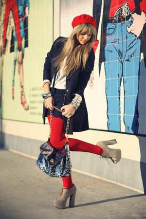 red H&M hat - navy H&M coat - ivory Ugo Boss shirt - heather gray no brand bag