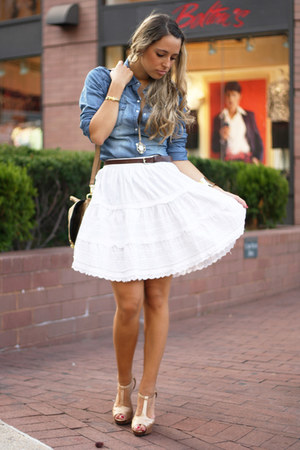 white vintage skirt - sky blue tezenis shirt - bronze H&M bag