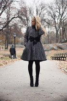 charcoal gray Armani Exchange coat - black Chanel bag