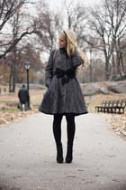 charcoal gray Armani Exchange coat - black Chanel bag