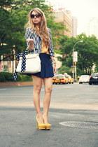 mustard sarenza heels - navy H&M blazer - mustard necessary clothing shirt