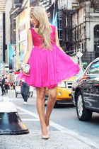 hot pink ILWYW dress - beige Accessorize bag - neutral Bufalo heels