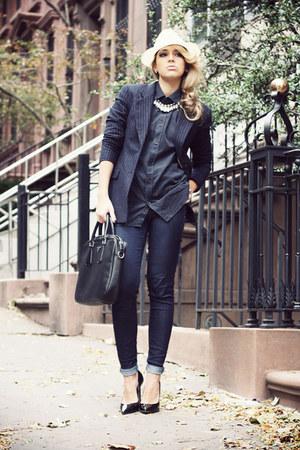 navy Zara jeans - white Borsalino hat - navy H&M blazer - navy Zara shirt