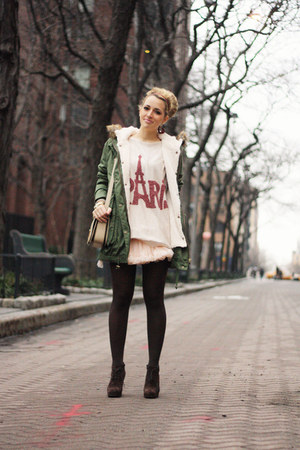 army green VJ-style jacket - dark brown Georgia Rose boots