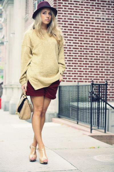 brick red Forever21 shorts - crimson H&M hat - gold vintage sweater
