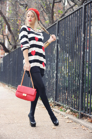 black Forever21 sweater - red H&M hat - red Moschino bag - black Bakers heels