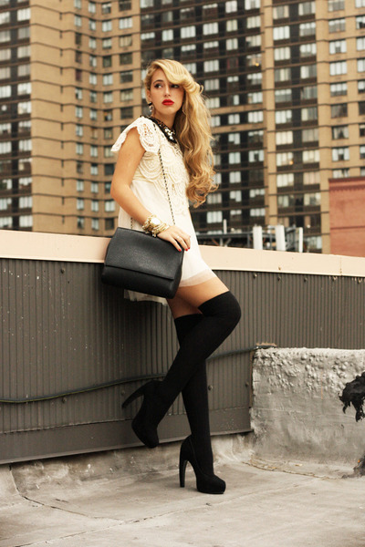 black Zara bag - ivory romwe dress - black H&M socks - black sarenza heels