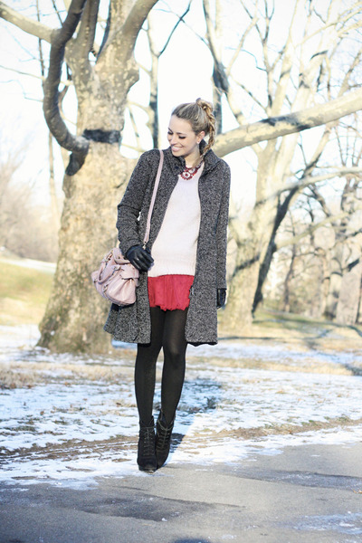 pink H&M sweater - black Mango boots - ruby red Chicwish dress