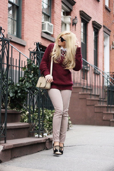 brick red Zara sweater - beige YSL bag - black Celine sunglasses