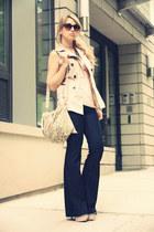navy David Kahn jeans - tan Remi&Emmy bag - cream Forever21 vest