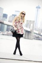 black Chanel bag - ruby red VJ-style dress - black Celine sunglasses