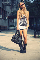 black Ovs Industry boots - white Forever21 shirt - black Bought in New York bag