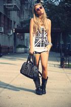 black Ovs Industry boots - white Forever21 shirt - black Bought in New York bag