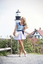 light purple American Apparel skirt - sky blue Sheinside shirt